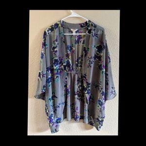 Arizona Jeans Gray Floral Sheer Cover Up Kimono L